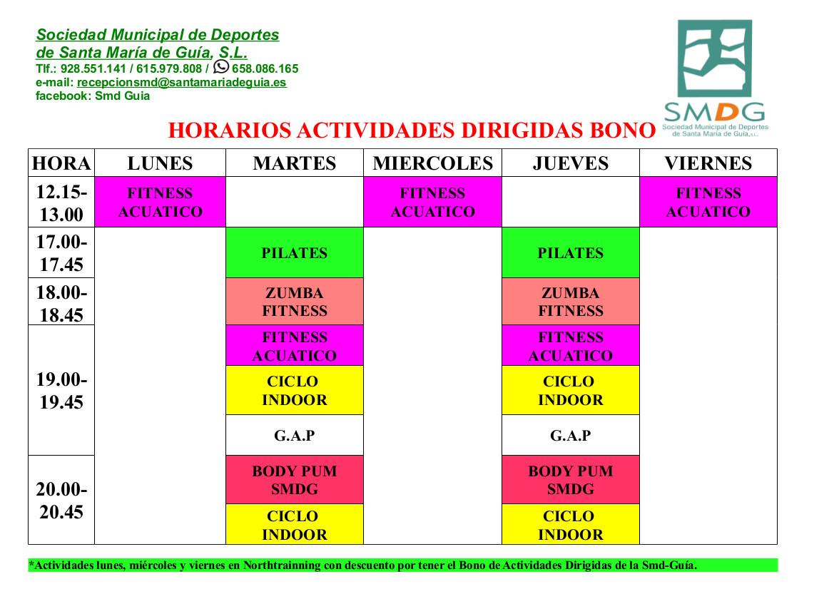 HORARIOS ACTIVIDADES DIRIGIDAS NOVIEMBRE