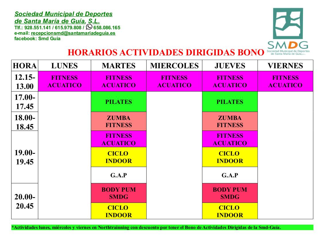 HORARIOS ACTIVIDADES DIRIGIDAS OCTUBRE