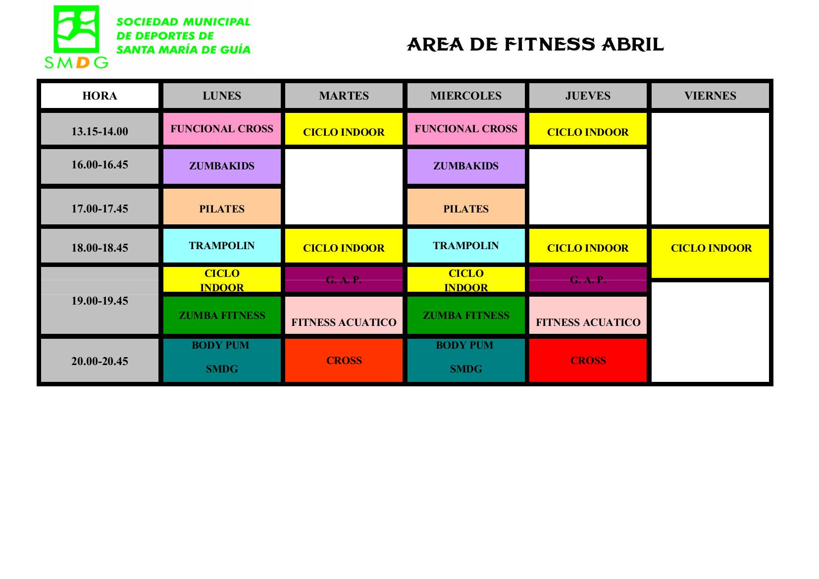 CUADRANTE ACTIVIDADES 24-04-2017