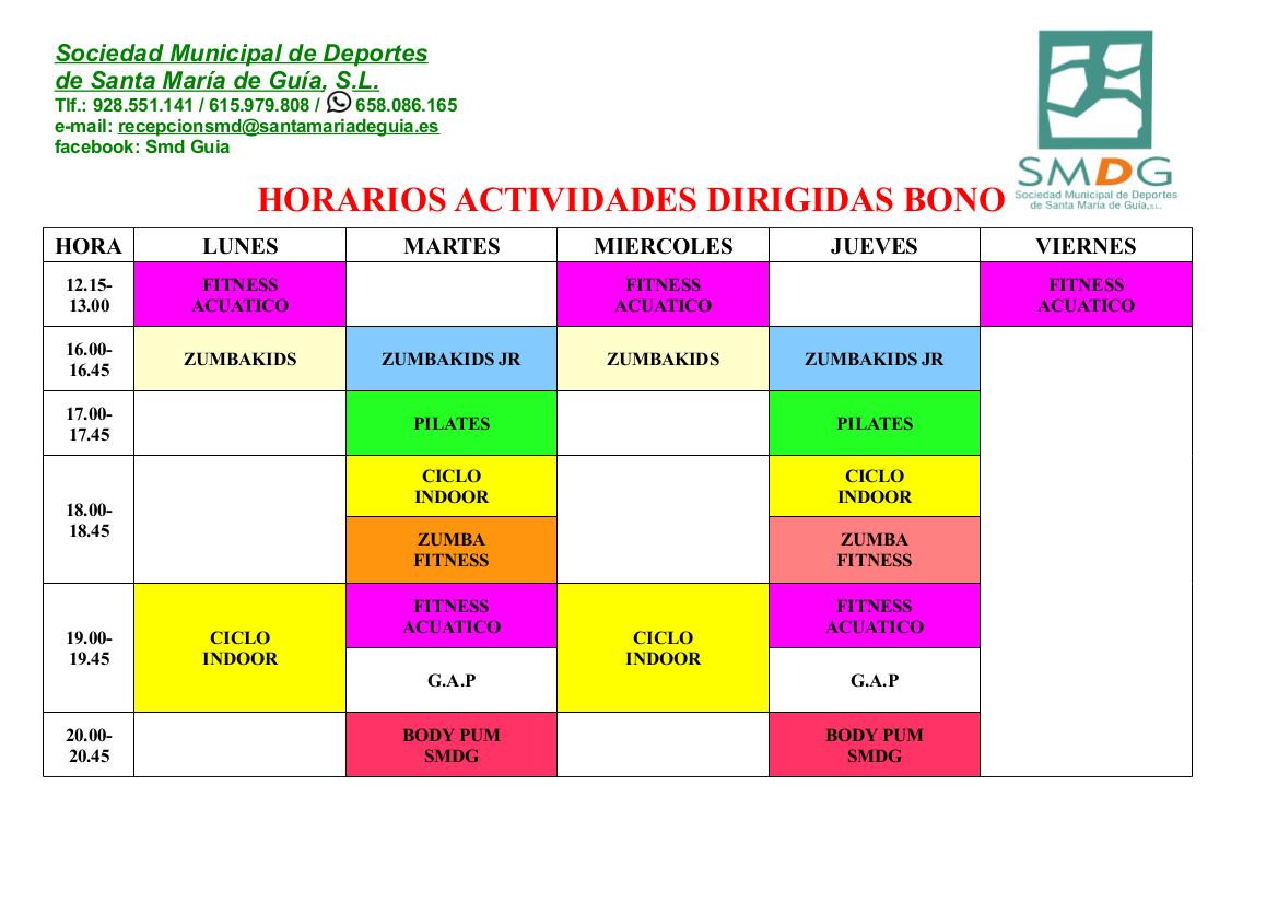HORARIOS ACTIVIDADES DIRIGIDAS SEPTIEMBRE