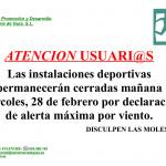 Cierre de Instalaciones Deportivas días 28 de Febrero