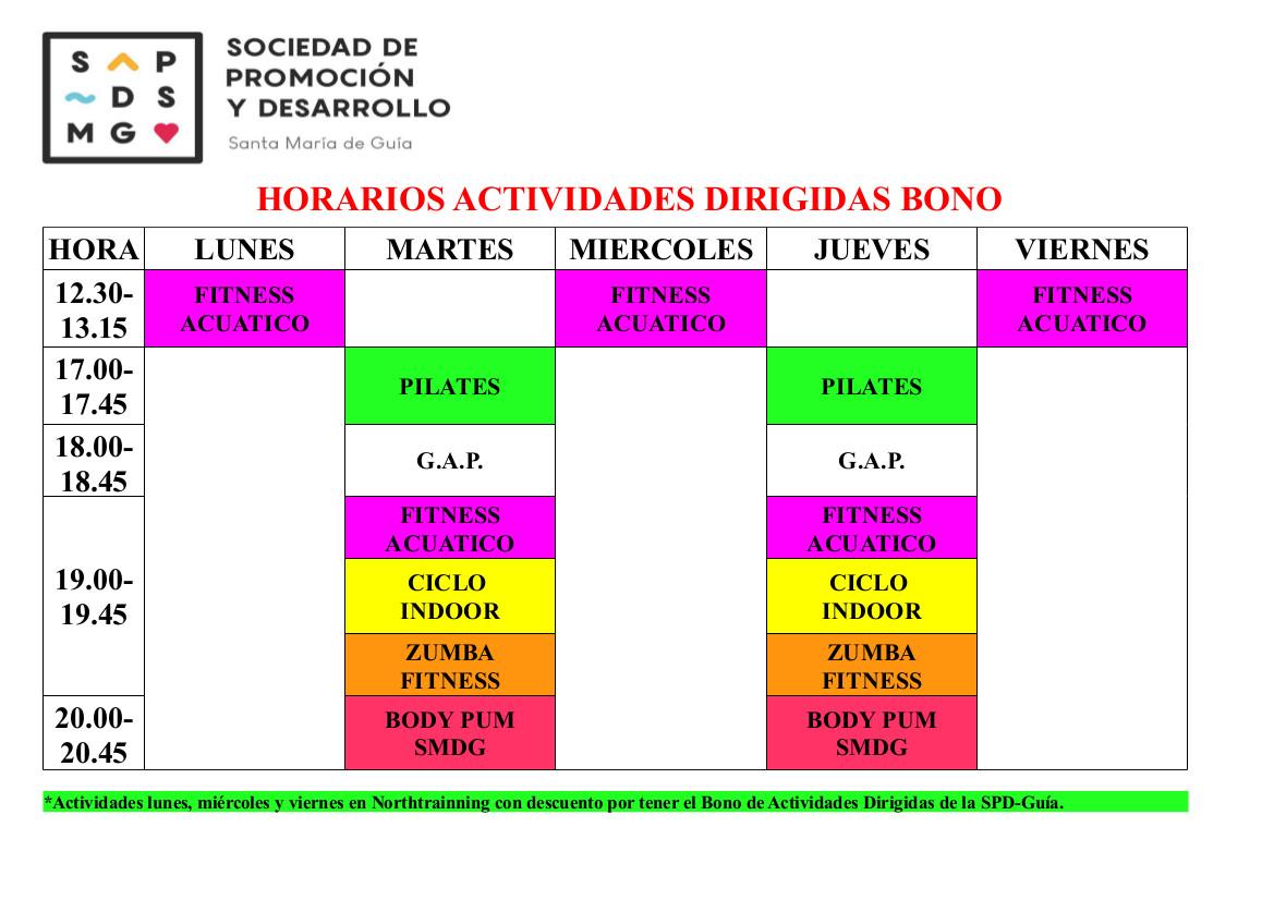 HORARIOS ACTIVIDADES DIRIGIDAS MAYO 2018 modificado