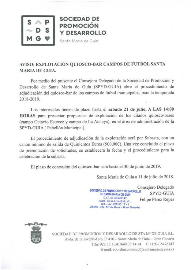 AVISO EXPLOTACION CANTINAS