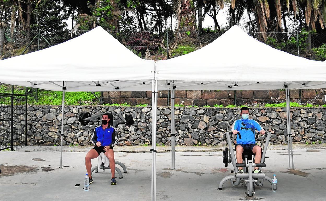 Usuarios practicando ejercicio